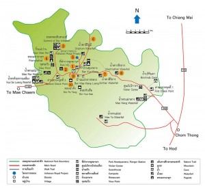 Mapa del parque Doi Inthanon