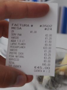 Comer en La Restinga - La cuenta